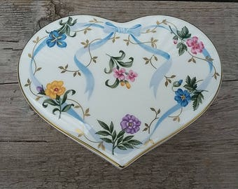 Christopher Stuart Bone China Heart Shaped Box-Vintage China Trinket Box-Vintage Heart Jewelry Box-Vintage Floral China Box-China Heart Box