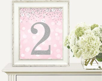 Pink and Silver Glitter, Birthday Print, 2nd Birthday Party Sign, Number 2, 2nd Birthday Party, Second Birthday, Printable Party Decorations