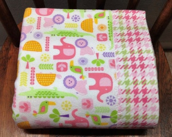 Animal Flannel Blanket, Baby Girl Flannel Blanket, Kaufman Wild Bunch Flannel Animal,Pink Green Plaid,Wild Animals,Cotton Flannel Blanket