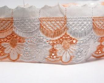 """Border Lace Trim: """"ORANGE WHITE LACE"""" cotton fabric Lace Trim, 2"""" wide 6 meters length C66"""