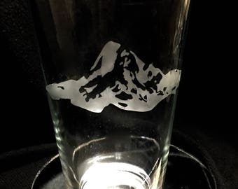 Mt. Hood etched pint glasses