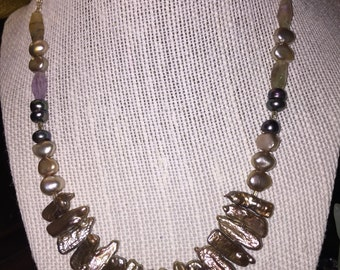Keishi and freshwater pearl necklace