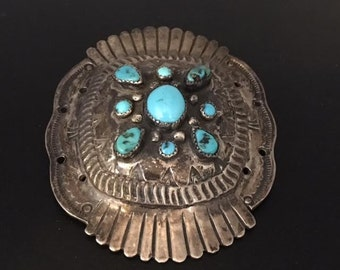 Vintage Navajo Silver and Turquoise Belt Buckle