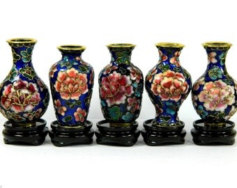 Vintage Blue Set of 5 Small Cloisonne Copper Enamel Decorative Vase,Floral Pattern,Collectible Decoration,Chinese Traditional Handicraft