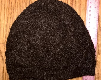 Brown Pattern Stocking Hat, made of Suri Alpaca fiber