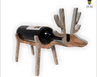 Bottle holder Blue Reindeer, wood, gift ideas, furnishing, wine lovers, wines, artisans, Showine, winery, home decorating ideas, home