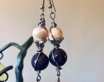 Blue Goldstone& Seashell earrings