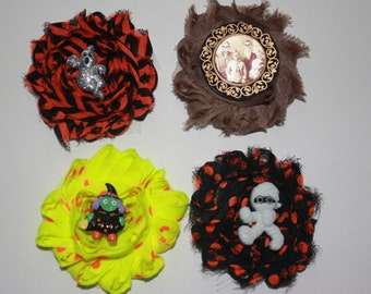2.5 in. Shaggy Halloween Inspired Boutique Flower  Hair Clips