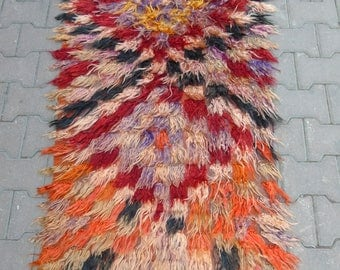 Multi-Colored Wool Rug, Handmade Rug, Mohair Rug, Shaggy Rug, Tribal Rug, 78 x 133 cm/ 2'5 x 4'3