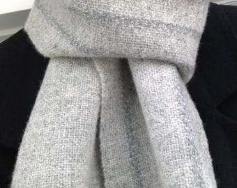 Handwoven Shetland Wool Scarf, grey and silver scarf, silver sparkly scarf, hand woven scarf, gift for her, ready to ship