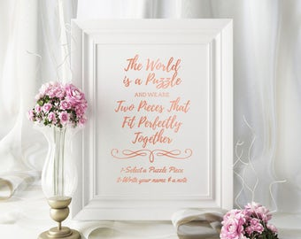 Wedding Puzzle Guest Book SIGN / Rose Gold Wedding Decorations / Jigsaw Puzzle Guestbook /  Wooden Jigsaw Puzzle / Personalised Wedding
