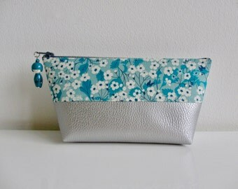 kokeshi blue gray faux leather beaded makeup and liberty of London flower