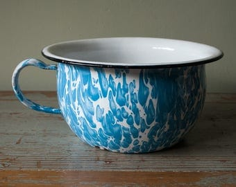 Vintage French country blue marbled chamber pot. Shabby chic. French country. Rustic Farmhouse