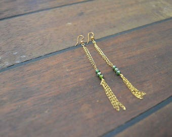 Gold chain and bead earrings
