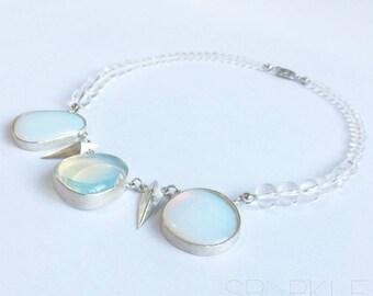 Sterling Silver 925 Opalite & Rock Crystal Choker Necklace-Wedding Jewellery-Handmade Gift-Australian Made