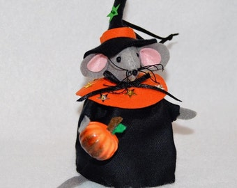 Hand crafted Halloween felt Witch Mouse with pumpkin tree ornament