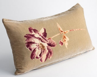 Beautiful Hand Printed Sweetmay Cushion in Mink Velvet (READY TO SHIP)