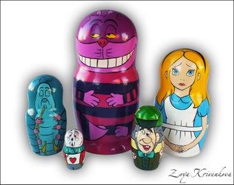 Nesting doll Alice in Wonderland Geek Gift Matryoshka 5pcs Cheshire Cat Alice White Rabbit Hatter Caterpillar/Матрешка