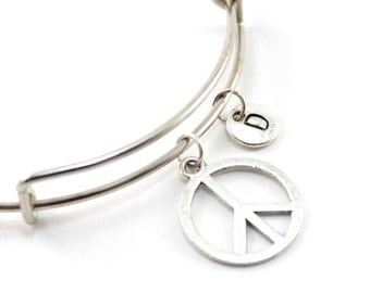 PEACE charm bangle, peace charm bracelet, personalized charm bangle, initial bangle,  personalized jewelry, charm bracelet, initial jewelry