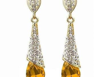 Austrian crystal rhinestone long dangle 18k gold plated water drop earrings