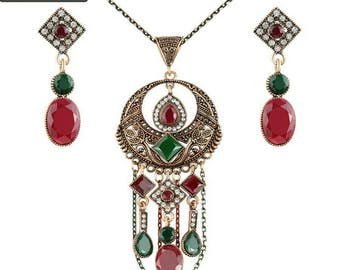 Vintage Turkish Jewelry Sets Antique Gold Plated Long Necklace Earrings set