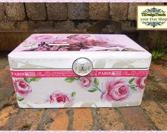 Shabby Chic Sewing Box, Sewing, Boxes, Wooden Sewing Machine, Wooden Sewing Box, Vintage Sewing Box, Pink Sewing Box