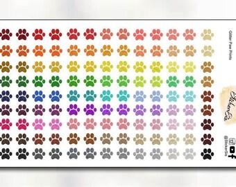 Paw Print Glitter Icon Planner Stickers