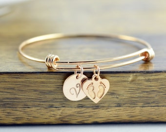 Personalized Initial Bracelet, New Mom Gift, Personalized Rose Gold Bracelet, New Baby Gift, Baby Feet Charm, Gift for Her