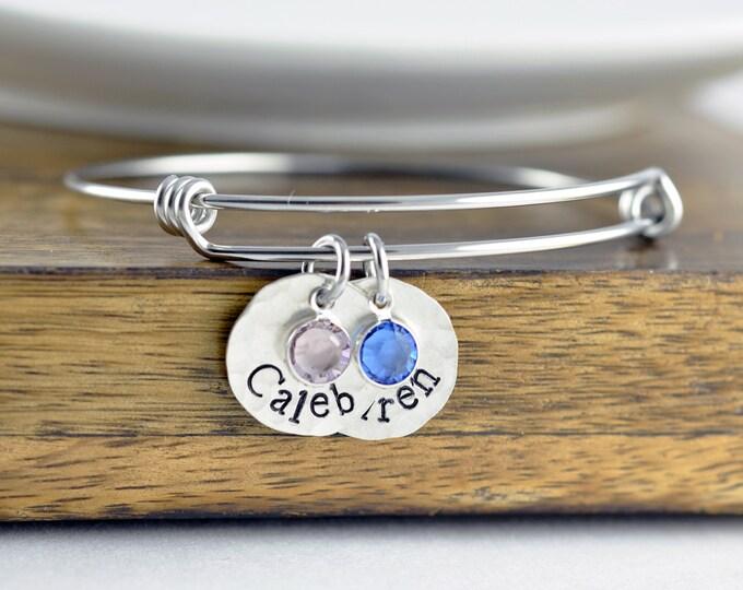 Mom Bangle Bracelet - Personalized Birthstone Name Charm Bracelet - Hand Stamped Bangle Bracelet - Personalized Bracelet - Silver Bracelet