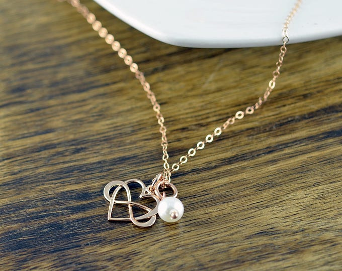 Rose Gold Necklace, Rose Gold Jewelry, Infinity Necklace, Infinite Love Necklace, Charm Necklace, Bridesmaid Necklace, Bridesmaid Gift