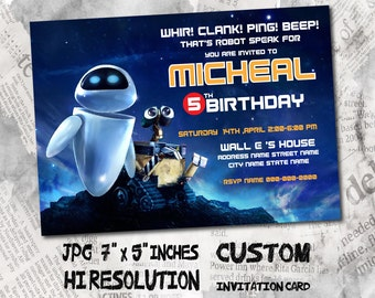 "Wall E Birthday Invitation card , size 5""x7"" inches Birthday Party, Invitation card"