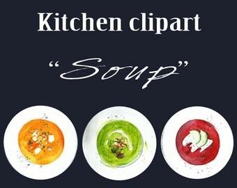 Kitchen clipart, winter clipart, soup winter clipart, cream soup,  kooking, Chicken Noodle Soup Sick Get Wel, Digital Image