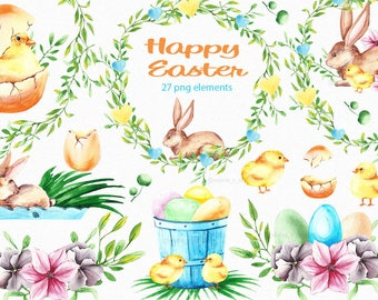 Easter clipart Easter watercolor clipart Bunny clipart Spring clipart  Eggs clipart Chicken watercolor clipart Leaves clipart Holiday