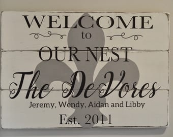 Family Name Sign, Last Name Sign, Personalized Family Sign, Fleur De Lis Wall Decor, Entryway Sign, Family Established Sign, Our Nest Sign