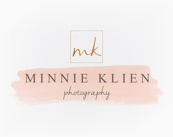 Premade Logo Design - Rose Gold Copper Monogram Square Peach Pink Pastel WatercolorLogo