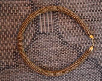 Gold African Maasai Rope beaded neckline/necklace, Masai hand made necklace