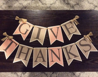 Give thanks banner, Thanksgiving banner, pennant banner