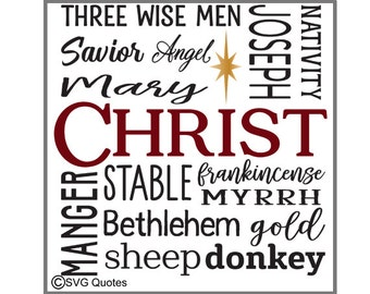 Subway Art Nativity Words SVG DXF EPS Cutting File For Cricut Explore, Silhouette & More. Instant Download.Personal/Commercial Use. Vinyl