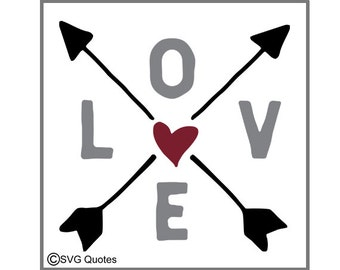 Love Arrows SVG DXF EPS Cutting File For Cricut Explore & More Instant Download. Printable. Vinyl. Personal and Commercial Use Valentines