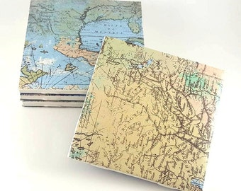 Map Coasters – Ceramic Tile Coasters – Drink Coasters – Traveler Gift – Set of 4 Coasters – Ceramic Coasters – Traveler Decor - Tile Coaster
