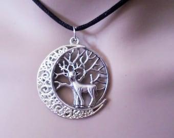 Moon deer tree of life necklace pendant tibetan silver jewelry bijoux