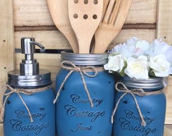 3 Piece Handpainted Mason Jar Deluxe Kitchen Set