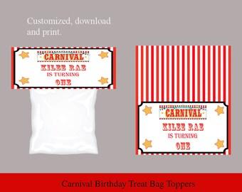Carnival Circus Treat Bag Topper, Big Top Treat Bag Topper, Birthday Treat Bag Topper, Goody Bag Topper, Gift Bag Topper
