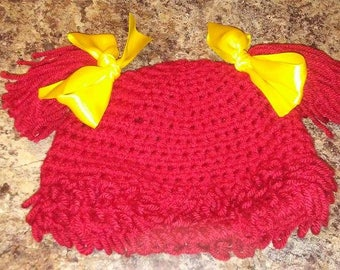 Red Cabbage Patch Doll Hat