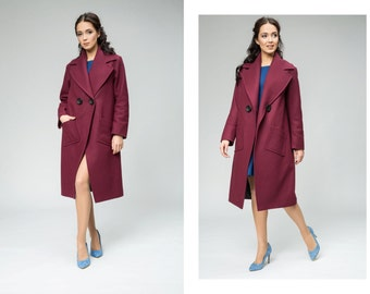 Coat with big collar, marsala coat