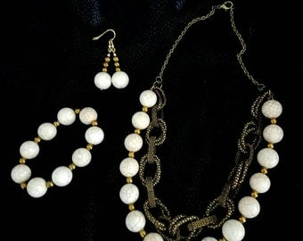 Cream and Brass Necklace with Bracelet and earrings