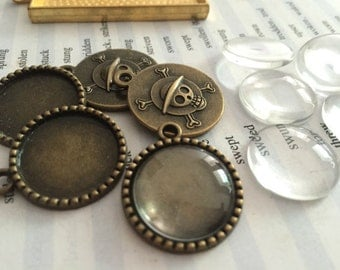 Wholesale 100 Pieces /Lot Antique Bronze Plated 18mm cabochon blanks trays charms