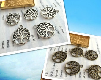Bulk sale 100 Pieces /Lot Antique Silver & Bronze Plated 20mm trees charms