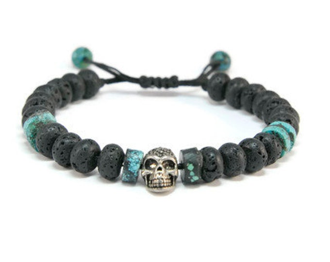Wild Soul * Lava & African Turquoise Rock Style Pull - Tie Bracelet
