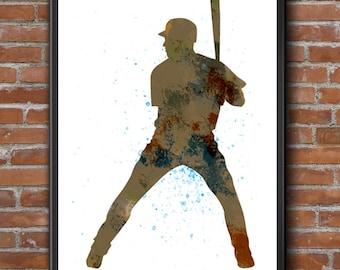 Baseball Player 03, Baseball Art, Baseball Decor, Nursery Wall Decor, Childs Room Decor, Sports Art, Watercolor Art, Sports Art Print